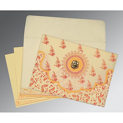IVORY WOOLY SCREEN PRINTED WEDDING INVITATION : IN-8207A - 123WeddingCards
