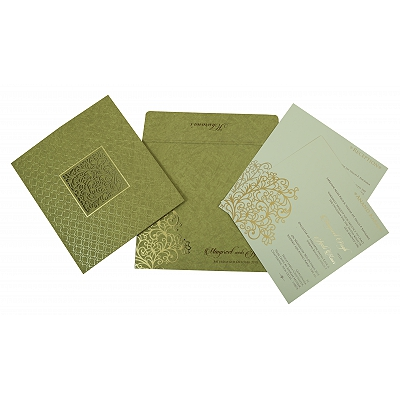 DEEP SAGE MATTE FLORAL THEMED - LASER CUT WEDDING INVITATION : IN-1810 - 123WeddingCards
