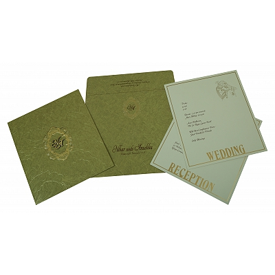 APPLE GREEN MATTE FOIL STAMPED WEDDING INVITATION : IN-1814 - 123WeddingCards