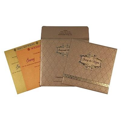 KHAKI SHIMMERY FOIL STAMPED WEDDING CARD : C-1713 - 123WeddingCards