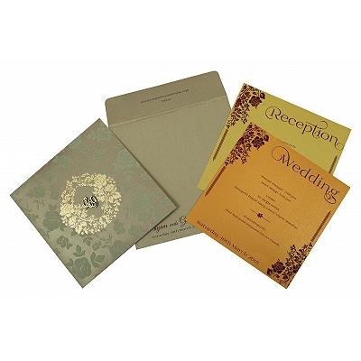 SAND SHIMMERY FOIL STAMPED WEDDING INVITATION : D-1817 - 123WeddingCards