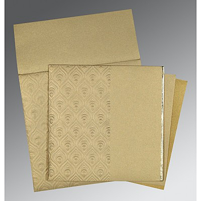 KHAKI SHIMMERY FOIL STAMPED WEDDING INVITATION : IN-1506 - 123WeddingCards