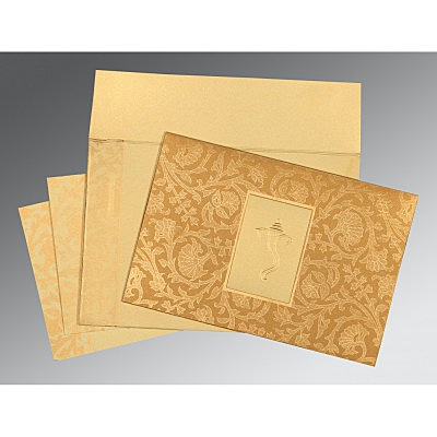YELLOW GOLD SHIMMERY POCKET THEMED - EMBOSSED WEDDING INVITATION : IN-1434 - 123WeddingCards