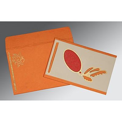 VIVID TANGELO MATTE SCREEN PRINTED WEDDING CARD : IN-2251 - 123WeddingCards