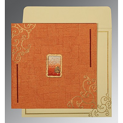 ORANGE HANDMADE SHIMMER EMBOSSED WEDDING INVITATION : IN-1236 - 123WeddingCards