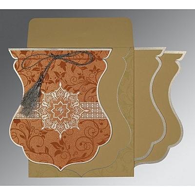 METALLIC ORANGE SHIMMERY FLORAL THEMED - SCREEN PRINTED WEDDING CARD : IN-8229I - 123WeddingCards