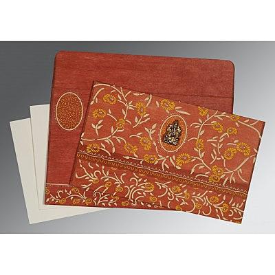 BURNT ORANGE WOOLY FLORAL THEMED - GLITTER WEDDING CARD : IN-8206G - 123WeddingCards