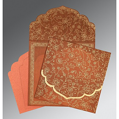AUTUMN ORANGE WOOLY FLORAL THEMED - SCREEN PRINTED WEDDING INVITATION : IN-8211H - 123WeddingCards