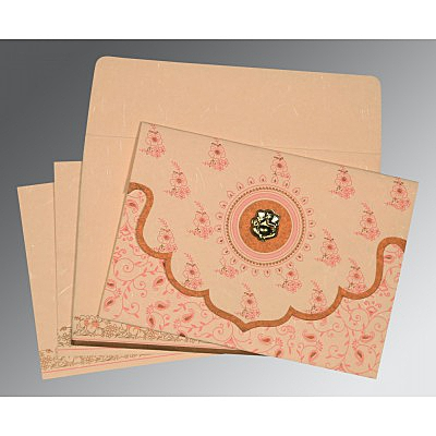 PEACH HANDMADE SILK SCREEN PRINTED WEDDING INVITATION : IN-8207C - 123WeddingCards