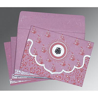 MAUVE PINK HANDMADE SILK SCREEN PRINTED WEDDING INVITATION : IN-8207K - 123WeddingCards