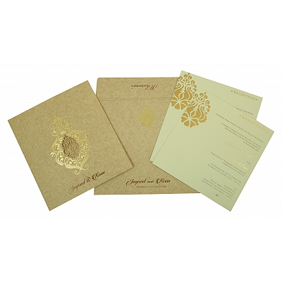 SAND MATTE DAMASK THEMED - LASER CUT WEDDING INVITATION : D-1811 - 123WeddingCards