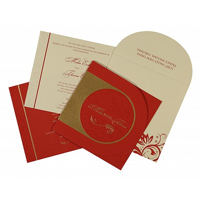 DARK RED MATTE FLORAL THEMED - SCREEN PRINTED WEDDING CARD : IN-8264D - 123WeddingCards