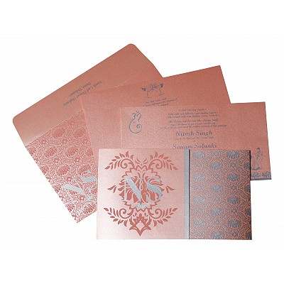 BABY PINK SHIMMERY DAMASK THEMED - SCREEN PRINTED WEDDING INVITATION : IN-8261D - 123WeddingCards