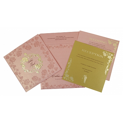 BABY PINK SHIMMERY FLORAL THEMED - FOIL STAMPED WEDDING INVITATION : IN-1787 - 123WeddingCards