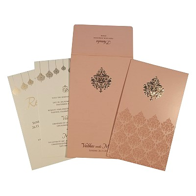 BABY PINK SHIMMERY SCREEN PRINTED WEDDING CARD : IN-1746 - 123WeddingCards