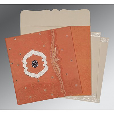 ORANGE SHIMMERY FLORAL THEMED - EMBOSSED WEDDING CARD : IN-8209A - 123WeddingCards