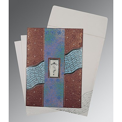 BROWN HANDMADE SHIMMER FOIL STAMPED WEDDING CARD : IN-1375 - 123WeddingCards