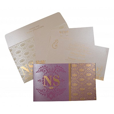 ORCHID SHIMMERY DAMASK THEMED - SCREEN PRINTED WEDDING INVITATION : IN-8261A - 123WeddingCards