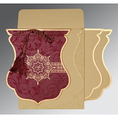 CLARET SHIMMERY FLORAL THEMED - SCREEN PRINTED WEDDING CARD : IN-8229K - 123WeddingCards