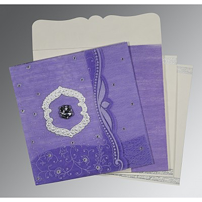 DARK PURPLE SHIMMERY FLORAL THEMED - EMBOSSED WEDDING CARD : IN-8209C - 123WeddingCards