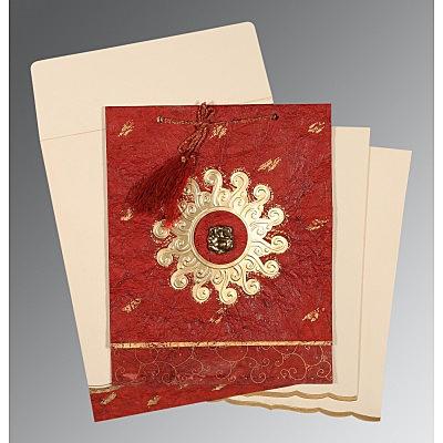 MAROON GOLD SHIMMERY EMBOSSED WEDDING INVITATION : IN-1264 - 123WeddingCards