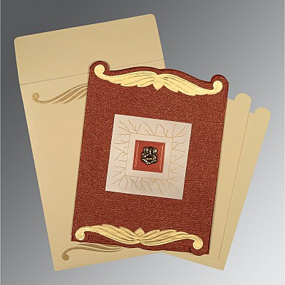 BRICK RED GOLD SHIMMERY EMBOSSED WEDDING CARD : IN-1412 - 123WeddingCards