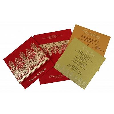 BRICK RED MATTE EMBOSSED WEDDING INVITATION : D-1780 - 123WeddingCards
