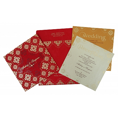 RUBY MATTE SCREEN PRINTED WEDDING INVITATION : IN-1786 - 123WeddingCards