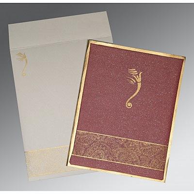 LIGHT CLARET MATTE BOX THEMED - SCREEN PRINTED WEDDING CARD : IN-2170 - 123WeddingCards