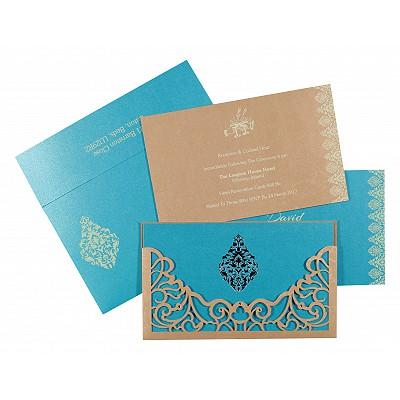MODERATE ORANGE SHIMMERY DAMASK THEMED - LASER CUT WEDDING CARD : IN-8262C - 123WeddingCards