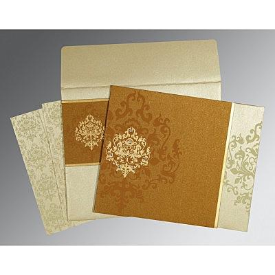 MUSTARD YELLOW SHIMMERY DAMASK THEMED - SCREEN PRINTED WEDDING CARD : IN-8253G - 123WeddingCards