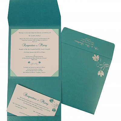 TURQUOISE BLUE SHIMMERY SCREEN PRINTED WEDDING INVITATION : IN-803A - 123WeddingCards