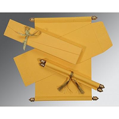 YELLOW HANDMADE SILK WEDDING CARD : SC-5001C - 123WeddingCards