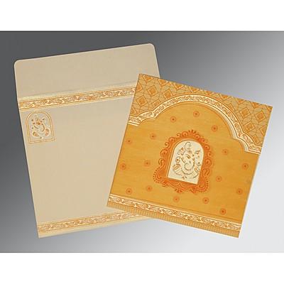 BRILLIANT ORANGE MATTE EMBOSSED WEDDING INVITATION : IN-2212 - 123WeddingCards
