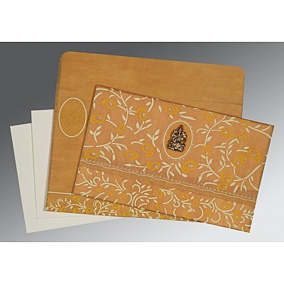 MUSTARD YELLOW WOOLY FLORAL THEMED - GLITTER WEDDING CARD : IN-8206H - 123WeddingCards