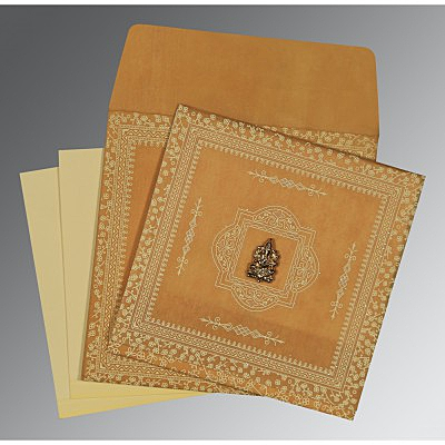 YELLOW WOOLY GLITTER WEDDING CARD : IN-8205D - 123WeddingCards