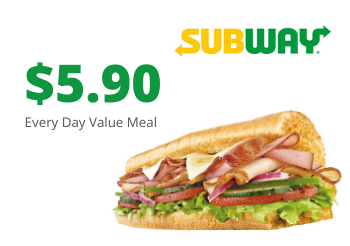 SAFRA Mount Faber Subway - $5.90 Every Day Value Meal For Takeaways