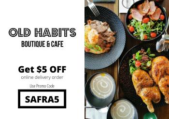 SAFRA Mount Faber Old Habits Boutique & Cafe -  Enjoy $5 off Delivery with 'SAFRA5' promo code. Limited to First 200 Redemptions