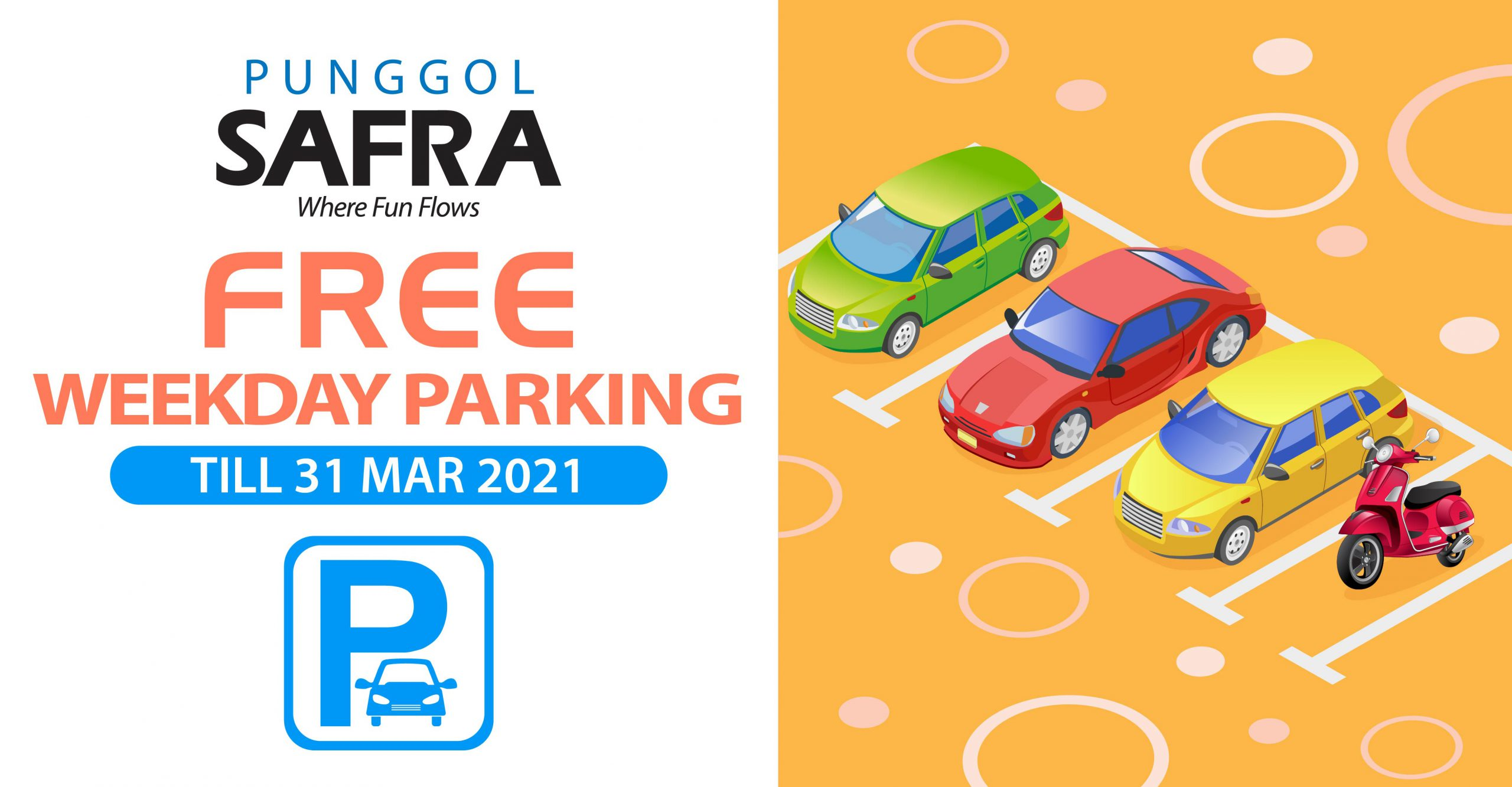 Free weekday parking at SAFRA with any amount spend.
