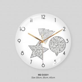 Đồng hồ treo tường phòng khách đẹp, đồng hồ treo tường tranh mã G0202