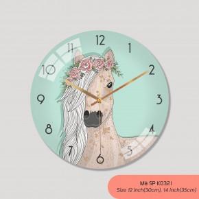 Đồng hồ treo phòng khách đẹp, tranh đồng hồ treo tường mã K0321