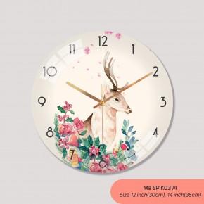 Đồng hồ treo phòng khách đẹp, đồng hồ tranh treo tường mã K0374