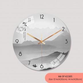 Tranh đồng hồ treo tường đẹp, đồng hồ treo tường trang trí phòng khách mã K0385