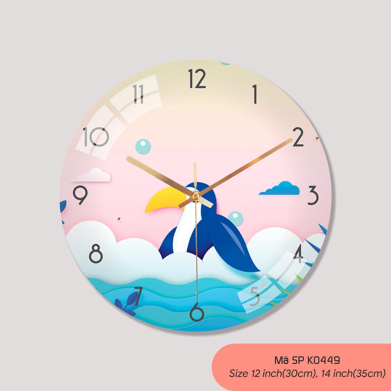 Tranh treo tường có đồng hồ, đồng hồ trang trí phòng khách mã K0449