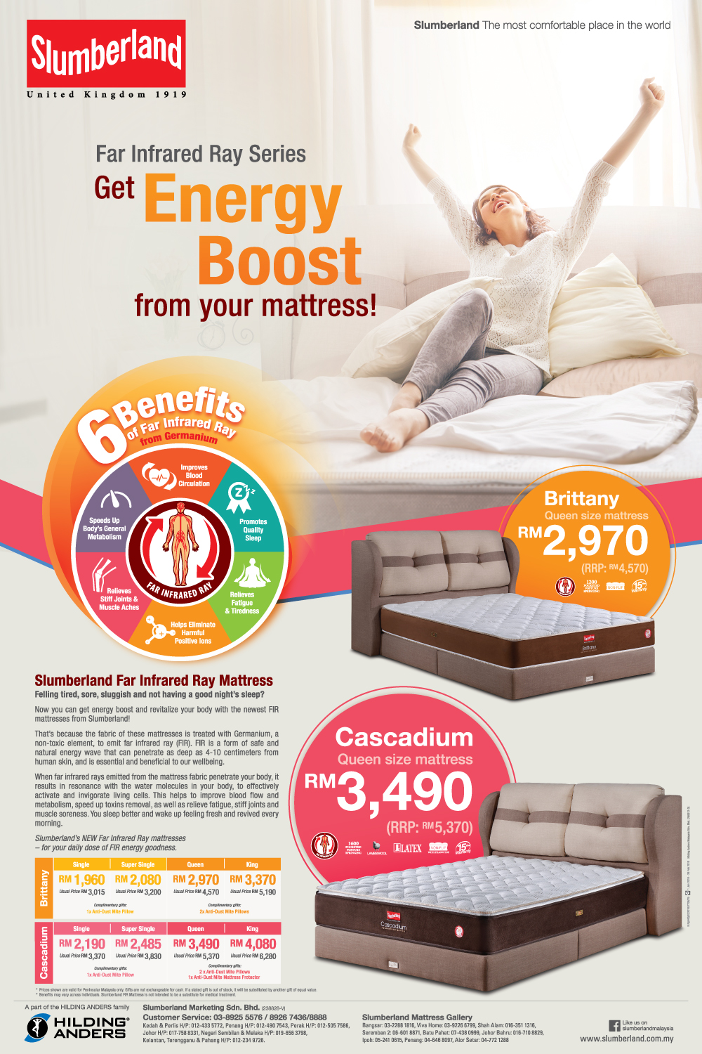 Slumberland Far infrared Ray mattress series promotion