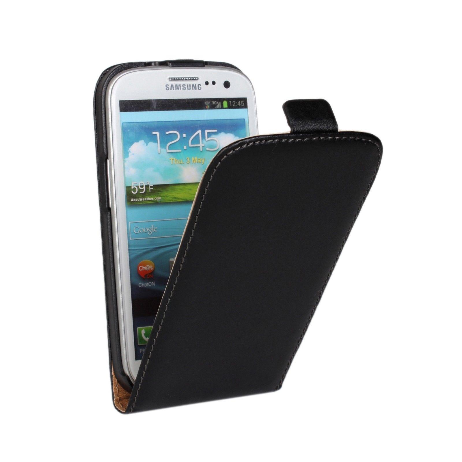 genuine black leather flip mobile phone case cover for samsung galaxy model ebay. Black Bedroom Furniture Sets. Home Design Ideas