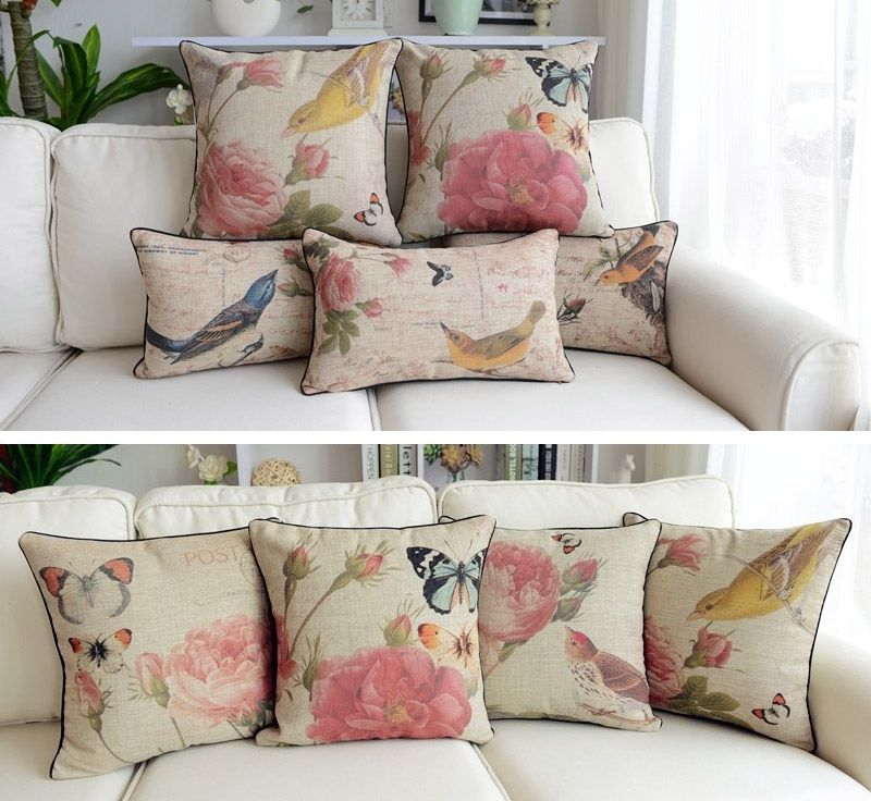 Shabby Chic Linen Pillows : Rectangular Linen Throw Pillow Cushion Cover Shabby Chic Cottage Bird Floral eBay