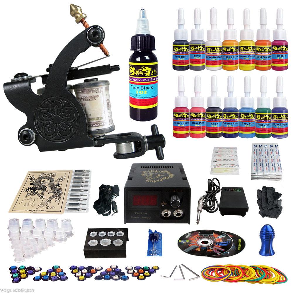 Complete tattoo kit 1 tattoo machine guns set 14 ink power for Ebay tattoo ink