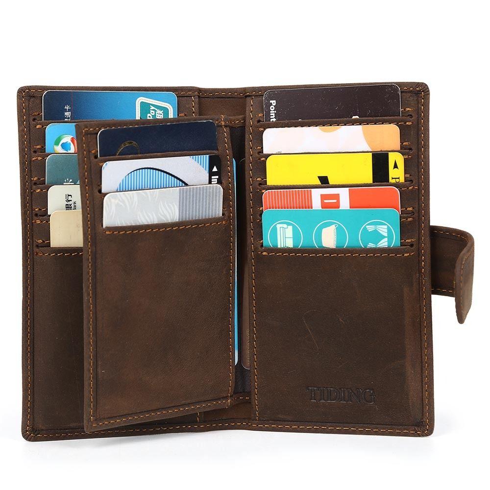 Men 39 S Brown Leather Slim Bifold Wallet Pouch Large Credit Card Holder Id Holder Ebay