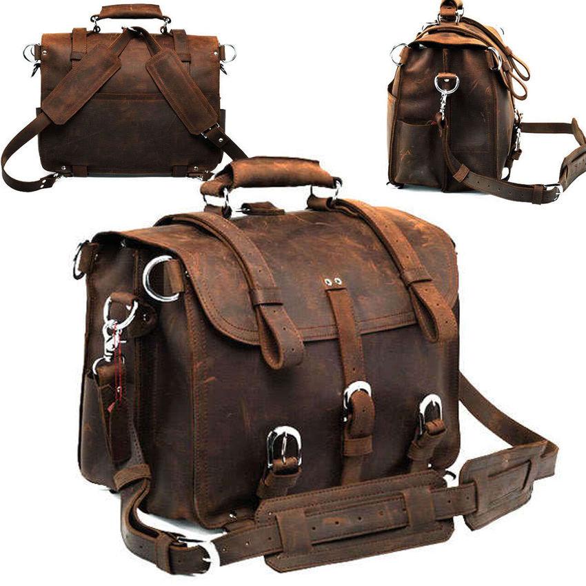 """Gym Bag Briefcase: Large 17"""" Men's Genuine Leather Messenger Gym Bag"""